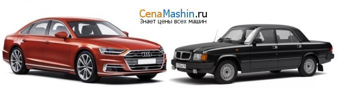 Сравнение Ауди А8 и ГАЗ 3110 Волга