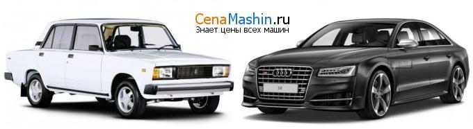 Сравнение ВАЗ (Лада) 2105 и Audi S8