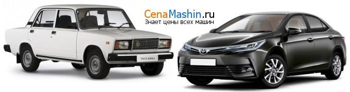Сравнение ВАЗ (Лада) 2107 и Тойота Королла